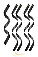 5 liens satin noir - Sweet Caress : Pack de 5 liens Fetish SM satin noir pour bander les yeux, attacher les poignets et les chevilles.