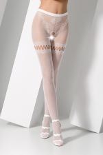 Collants ouverts S015 - Blanc : Collants ouverts en résille blanche extensible avec un motif de tanga sensuel.