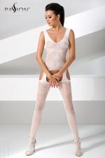Combinaison BS046 - Blanc : Combinaison résille blanche à jarretelles, tellement sexy et féminine.