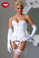 Corset White Delice : Corset en satin blanc recouvert d'un voile de dentelle, icône de féminité pour une parure virginale.