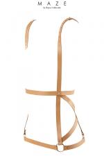 Robe harnais marron - Maze : Harnais marron en forme de robe, d'inspiration bondage, 100% Vegan, collection Maze, par Bijoux Indiscrets.