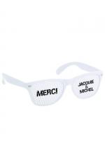 Lunettes Blanc blanc - Jacquie & Michel : Lunettes promotionnelles à l'effigie de Jacquie et Michel, le site de sexe amateur incontournable. Monture blanc et verres blancs.