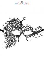 Loup broderie souple Fair Lady : Loup noir en dentelle brodée souple avec une forme asymétrique, pour vos soirées déguisées ou coquines, par Maskarade.