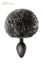 Plug queue de lapin - noir : Un plug anal élégant et original avec son pompon noir en fourrure synthétique fixé à son extrémité.