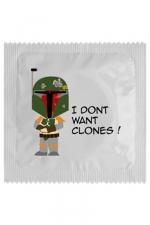 Préservatif humour - I Don't Want Clones : Préservatif I Don't Want Clones, un préservatif personnalisé humoristique de qualité, fabriqué en France, marque Callvin.